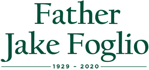 """Text that reads """"Father Jake Foglio, 1929–2020"""""""